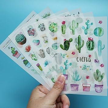 Pretty 6 hojas de papel fotográfico calendario Hazlo tú mismo Pegatina Scrapbook diario Planner Fo
