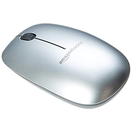 AmazonBasics Slim Wireless Bluetooth Mouse, Silver