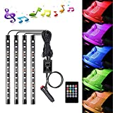 inside car lighting - Car LED Strip Light, Caca 4pcs 48 LED Multicolor Music Car Interior Lights Under Dash Lighting Waterproof Kit with Sound Active Function, Wireless Remote Control, Car Charger Included fit all vehicles