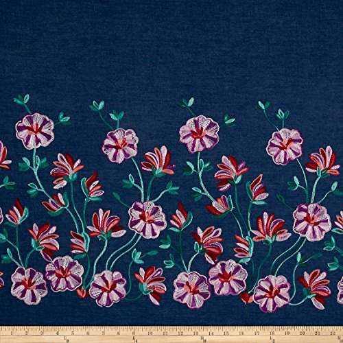 18.5' Single (Telio Denim Floral Embroidery Single Border Pink/Purple/Teal Fabric By The Yard)