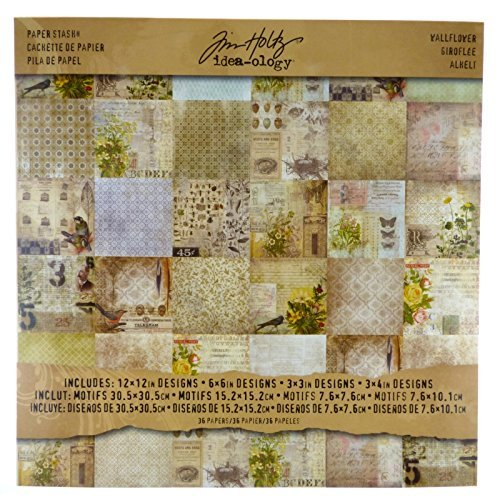 Wallflower Paper Stash by Tim Holtz Idea-ology, 36 Sheets, Double-Sided Cardstock, Various Sizes, Multicolored, -