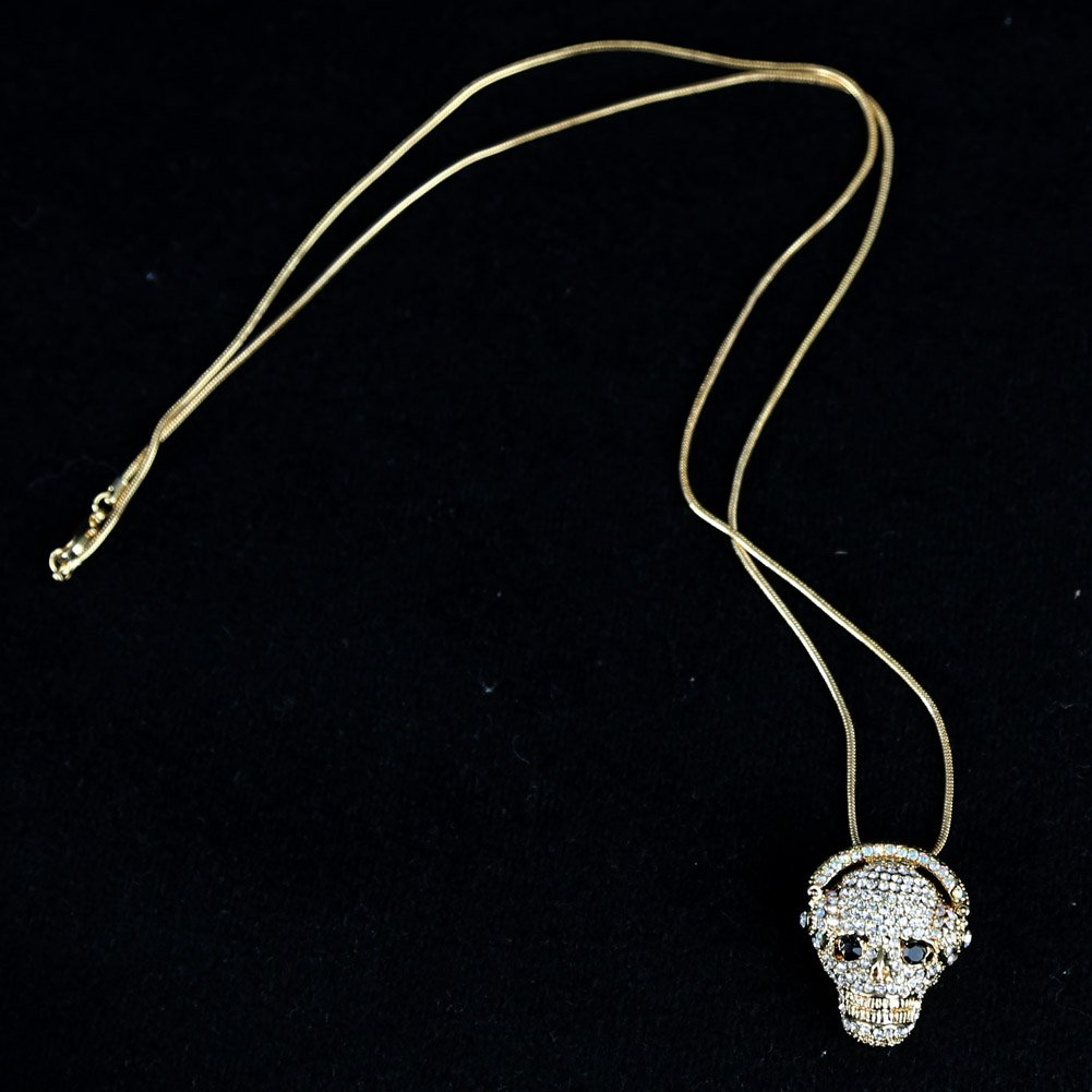 White SUM Womens Girls Cool Special Skull Necklaces Music Biker Chain Necklaces Costume Jewelry