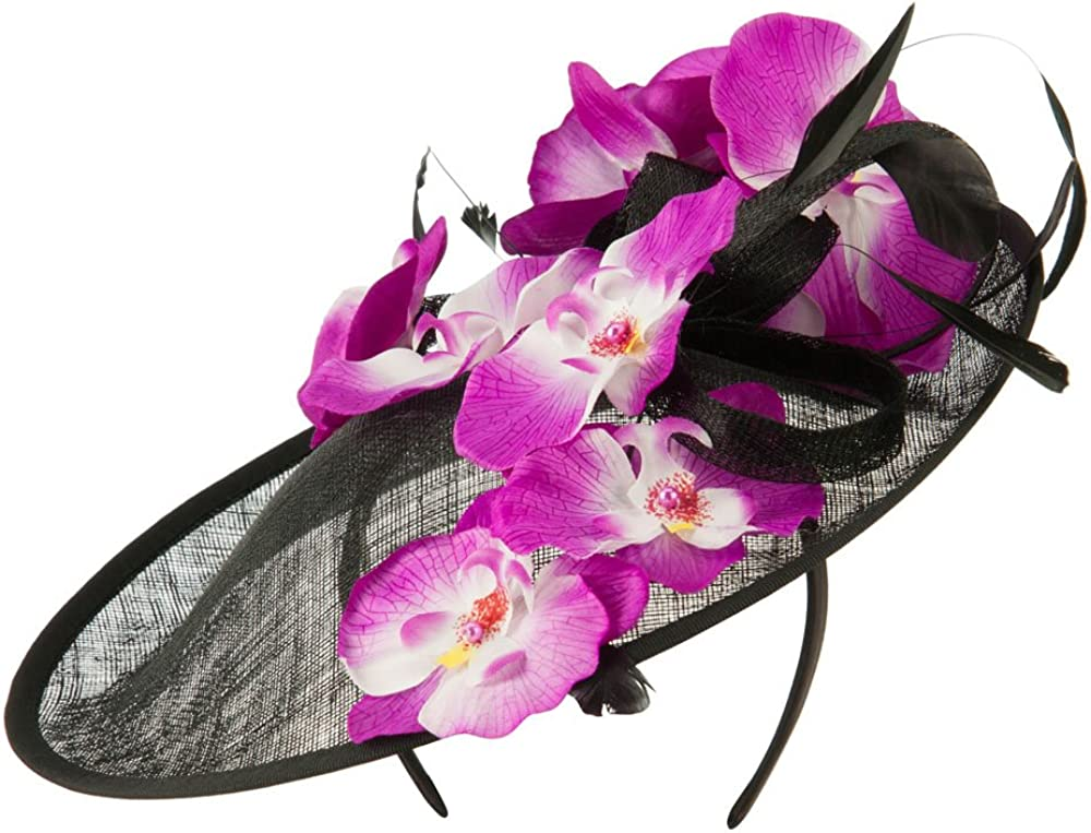 SS//Hat Tropical Flower Fascinator Black