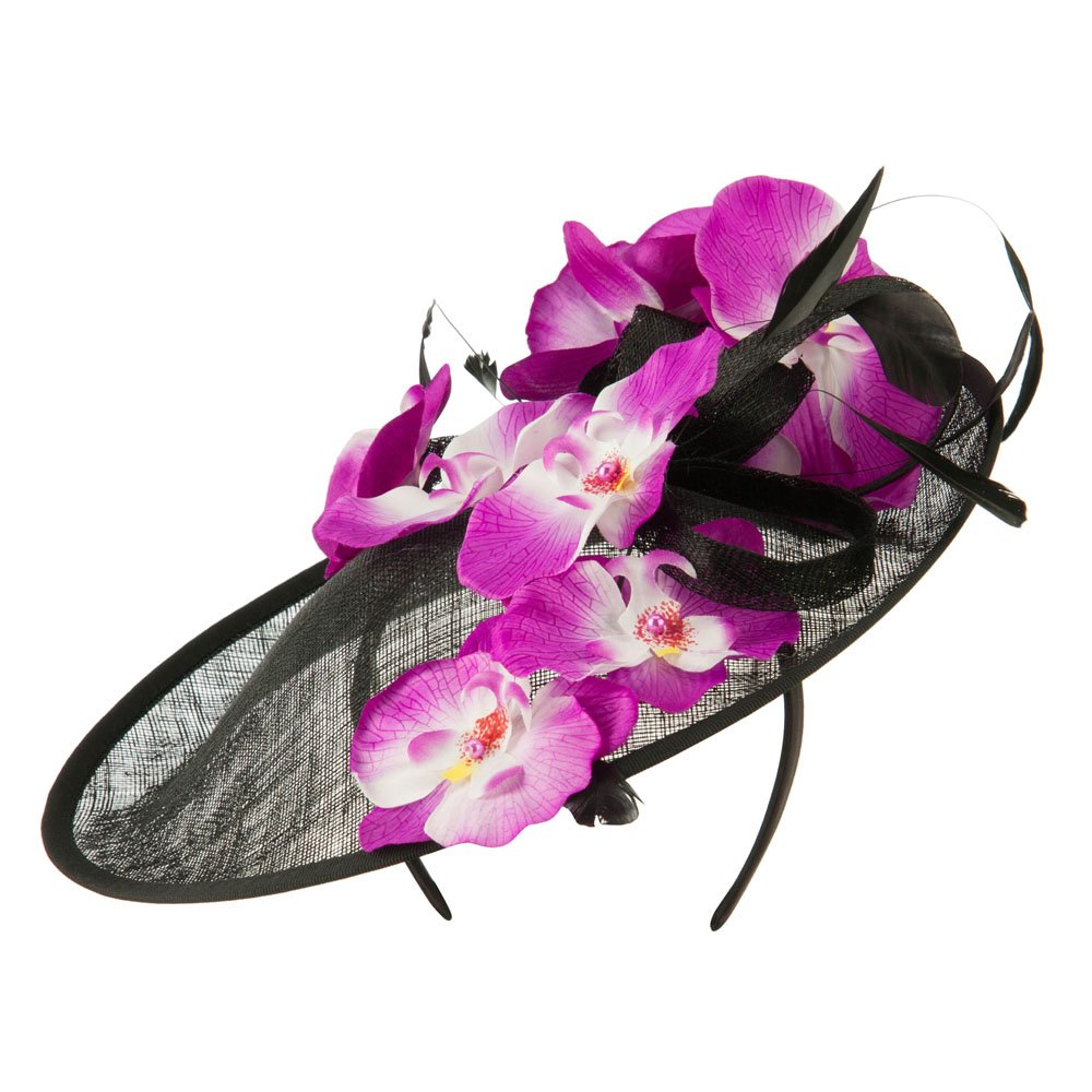 Tropical Flower Fascinator - Black OSFM
