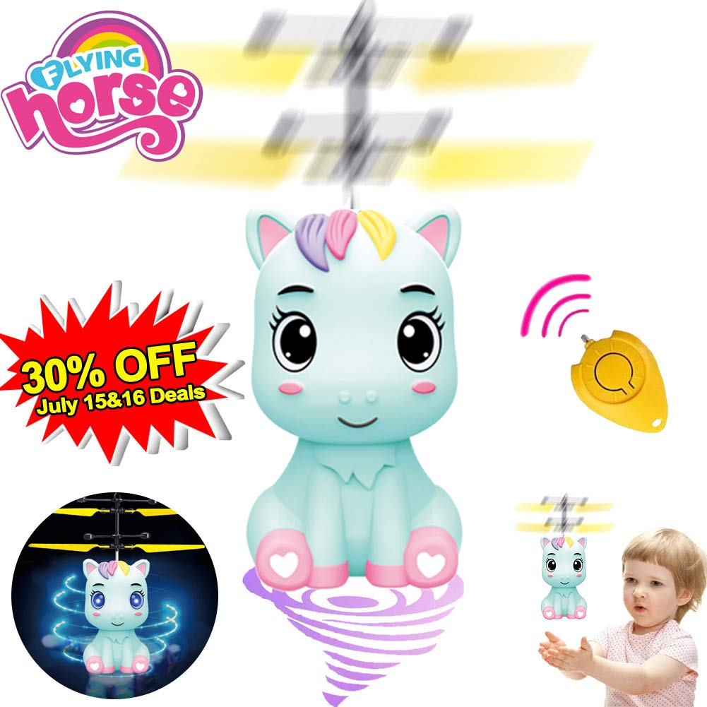 Unicorn Flying Toys RC Drones Flying Fairy Ball Toys for Kids, Hand Controled Horse Unicorn Helicopter Drone Flying Ball LED Light for 3 4 5 6 7 8 9 Boys Girl Indoor Outdoor Toys Birthday July 15-16