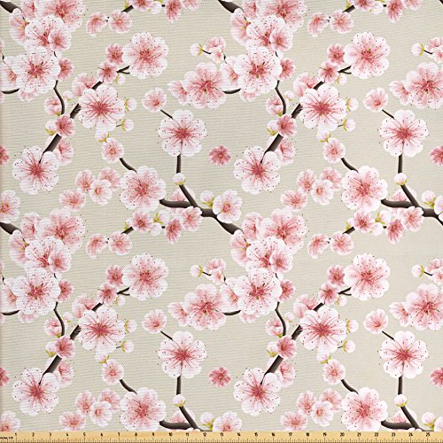 Ambesonne Asian Fabric by the Yard, Japanese Flowering Cherry Blossom Symbolic Coming of Spring Season Eastern Inspired, Decorative Fabric for Upholstery and Home Accents, Beige Rose
