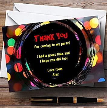 Disco Lights Personalized Party Thank You Cards