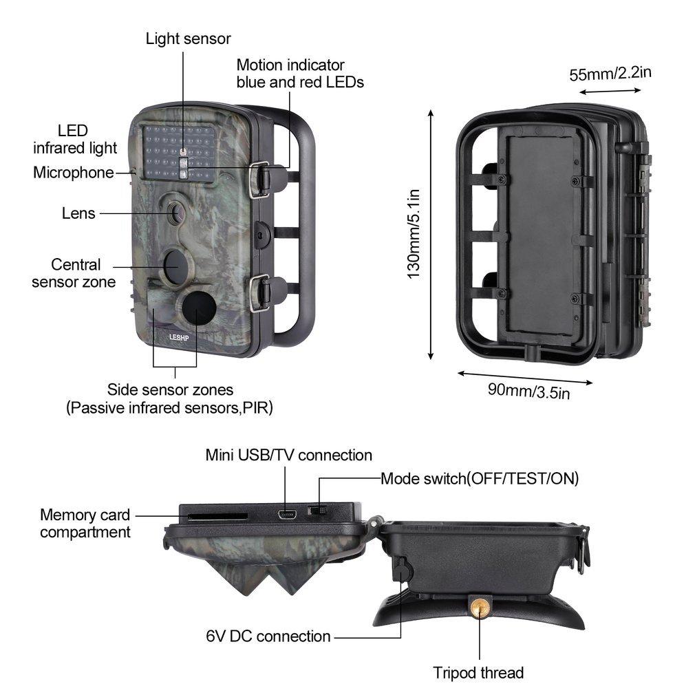 C/ámara de Caza Vigilancia con Sensor de Infrarrojos IP54 Impermeable Infrarrojo 120 Angulo 2.4  LCD C/ámara de Caza Trail C/ámara 12MP Full HD 1080P