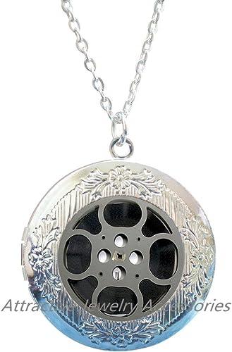 Film Locket Necklace Locket Pendant Theatre,QK035 Movie Locket Pendant Movies Film Locket Pendant,Reel Locket Pendant Charm
