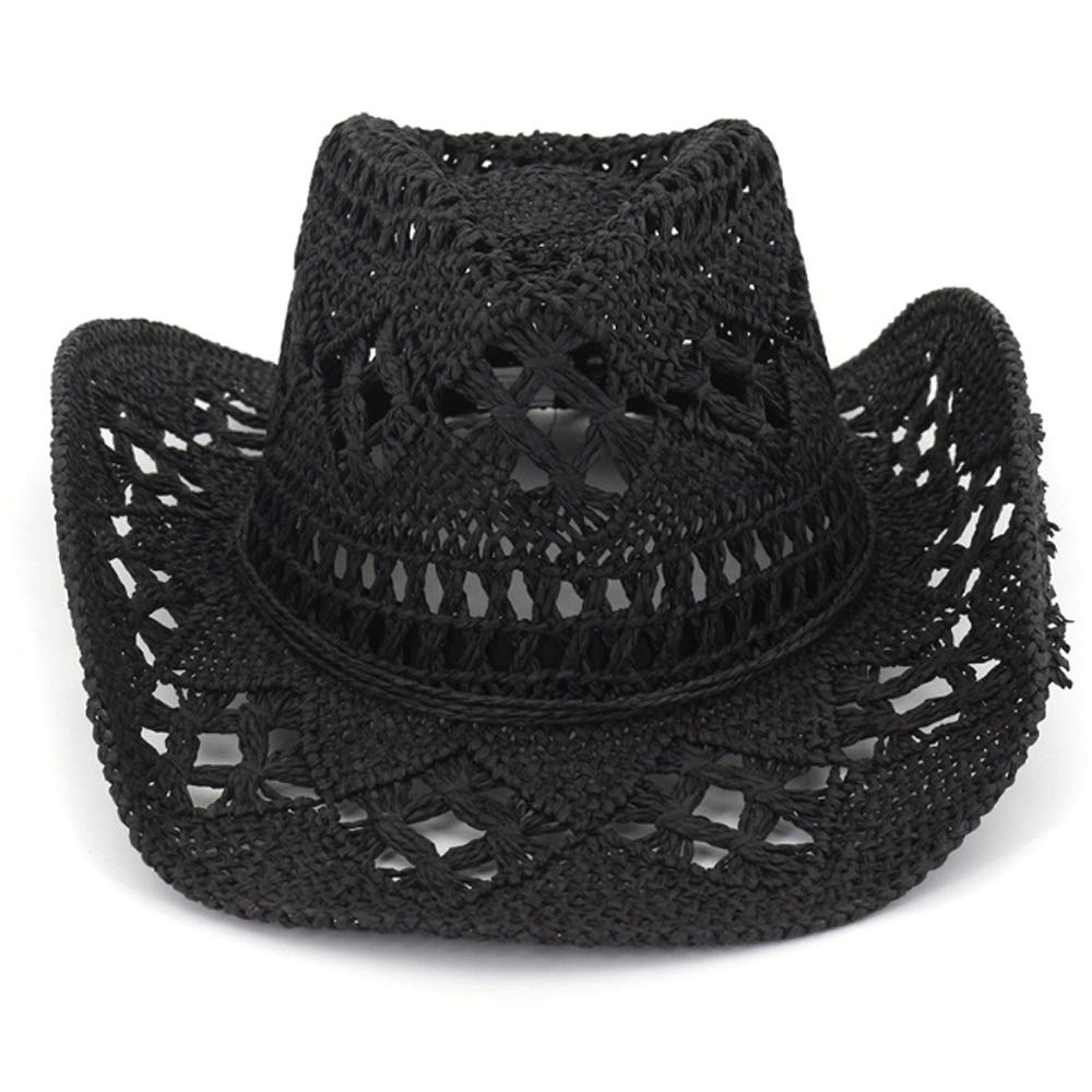 TRDyj Outdoor Men and Women Couple Hat Travel Sun Visor Western Cowboy Straw Hat Hand-Woven Ladies Breathable Sun Hat Travel Cap (Color : Black)