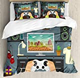 Gamer Queen Size Duvet Cover Set by Lunarable, Gaming Guy in His Flat with Diplomas Loud Speakers Boxing Gloves Jump Rope and Trophy, Decorative 3 Piece Bedding Set with 2 Pillow Shams, Multicolor
