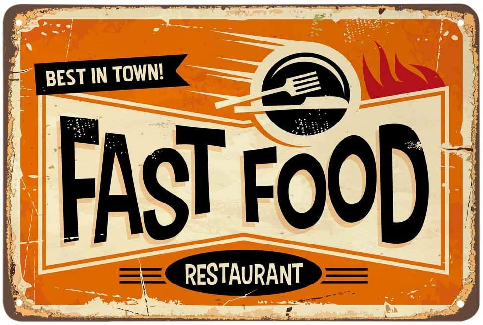 AOYEGO Fast Food Tin Sign,Best in Town Restaurant Poster Vintage Metal Tin Signs for Cafes Bars Pubs Shop Wall Decorative Funny Retro Signs for Men Women 8x12 Inch
