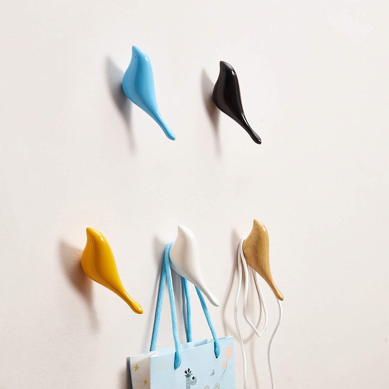 Set di 5 WEFLAIR Gancio da Parete colorato per Uccelli con Design a Coda Piatta//Supporto da Parete Multiuso per Chiave per Asciugamano e Cappello