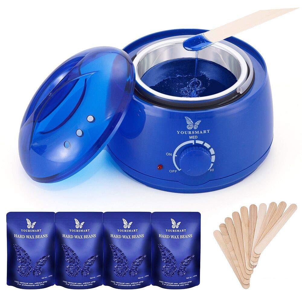 YOURSMART Wax Warmer Hair Removal Waxing Kit for Women and Man Eyebrow, Face, Facial, Leg, Armpit, Bikini, Brazilian - Include 400g Hard Wax Beans & 20pcs Applicator Stick