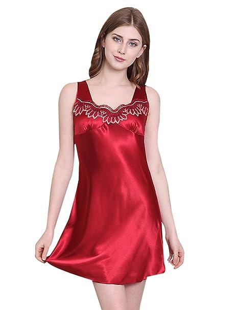 Menschwear Mujer Camisas de Dormir Camisas de Noche de Satén Chemises Camisas Serie Pijamas (S
