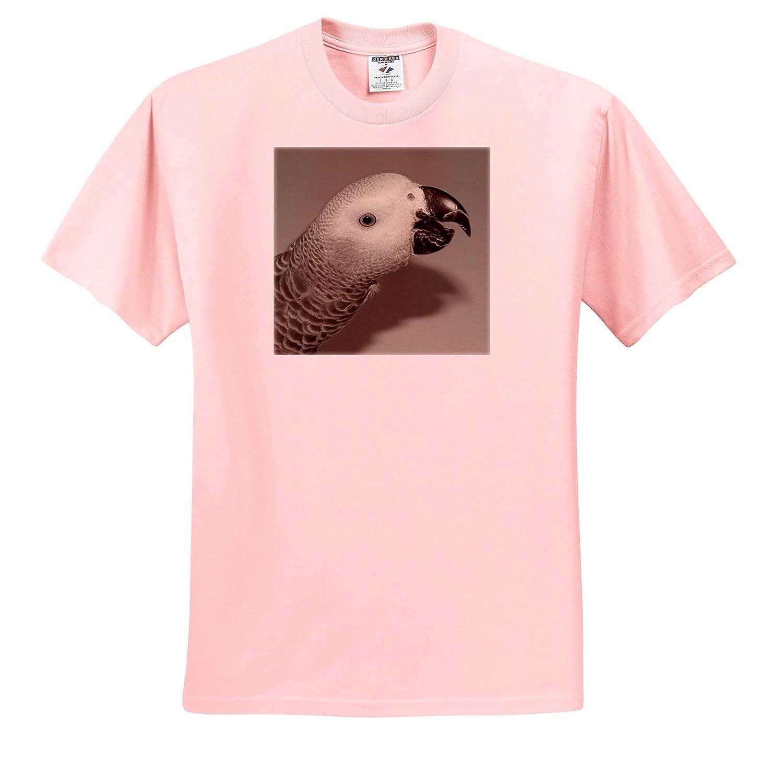 3dRose Sven Herkenrath Bird Portrait Face of a African Grey Parrot Bird Adult T-Shirt XL ts/_316724