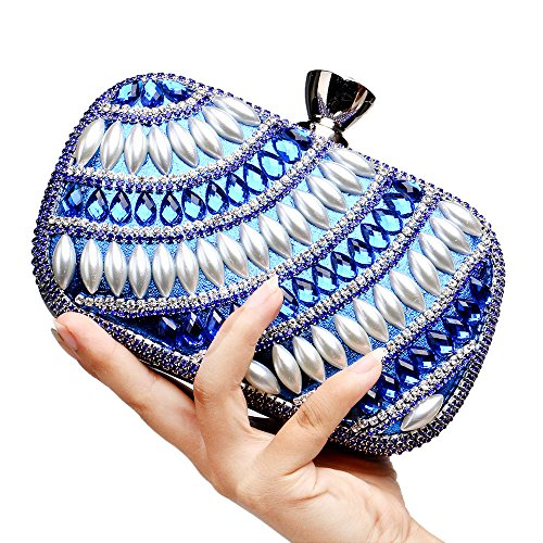 Shoulder Black Wallet Party 5A Evening Women Blue Clutch Zircon For GXYCP Wedding Bag Bag For UvOxSw