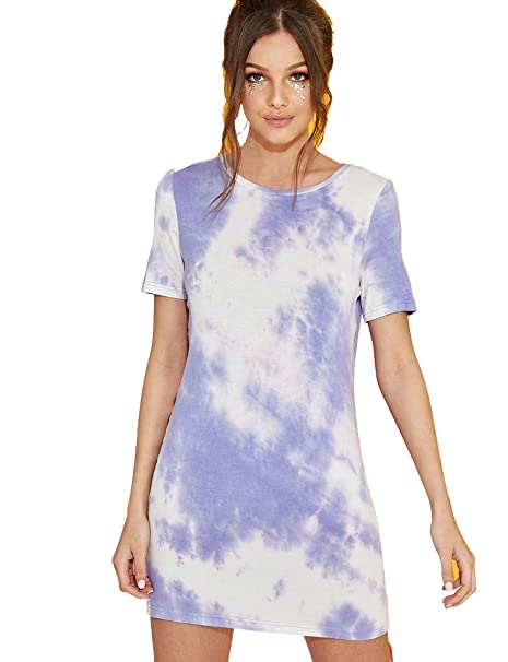 e17fe6d0203c9 Romwe Women's Loose Casual Short Sleeve Tie Dye Ombre Swing T-Shirt Tunic  Dress Multocolor