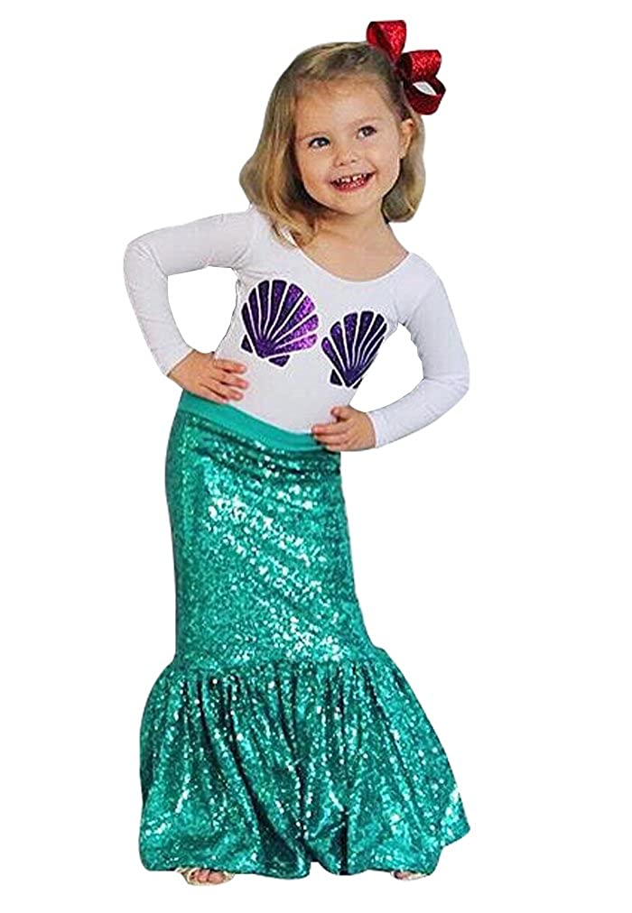 SUPEYA Baby Girls Catoon Mermaid Outfits Long Sleeve T-Shirt Sequin Skirt 2Pcs Set
