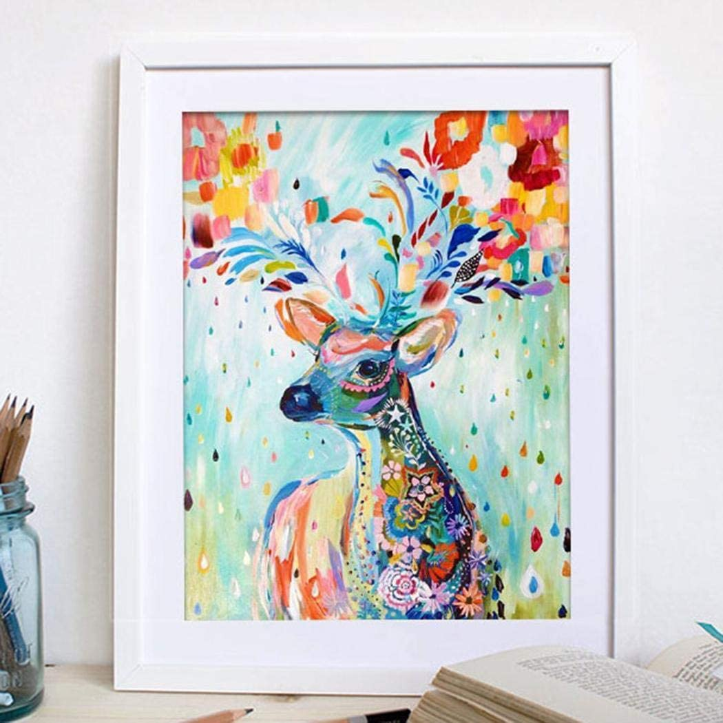 ierkag DIY Diamond Rhinestone Painting Kit Colorful Deer Cross Stitch Arts Craft Home Decor Cross-Stitch