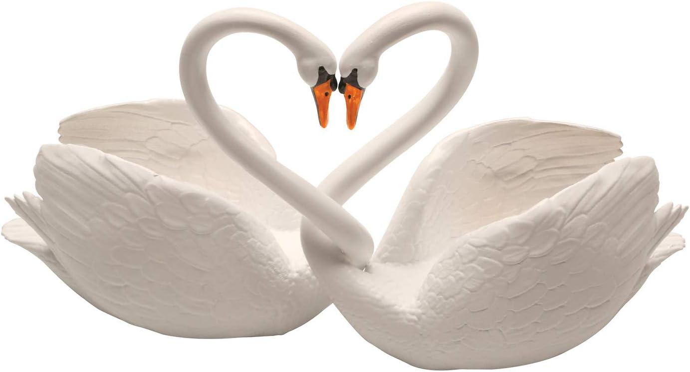 ART & ARTIFACT Two Piece Loving Swans - Intertwined Bird Pair Heart Sculpture, Home Decor Accent, Centerpiece