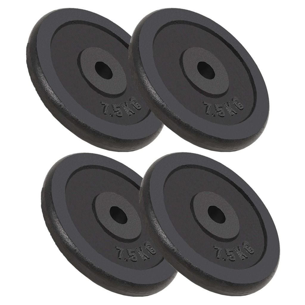 Festnight 4 STK. Hantelscheiben 30 kg Gewichtsscheiben aus Gusseisen Gewichte Hanteln Set für Krafttraining