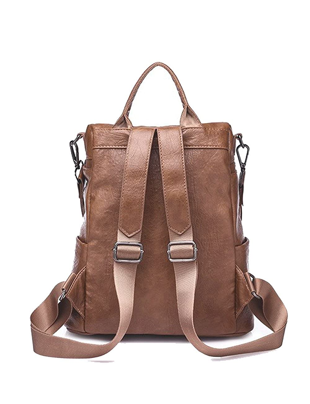 K.X.S Discount Womens Backpack Zippered Solid Color PU Leather Stylish All Match Backpack