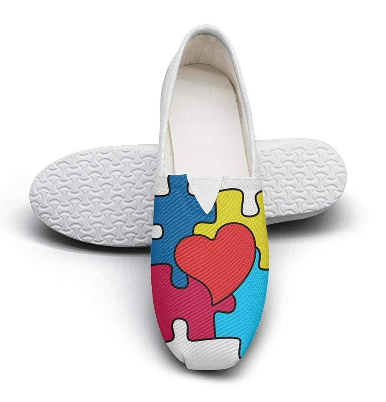 nkfbx World Autism Awareness Day Fashion Flat Canva Shoes for Women Running