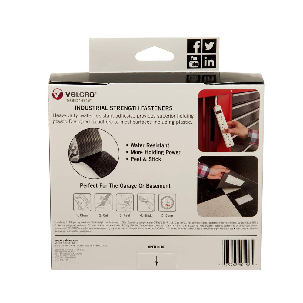 Strips VELCRO Brand Industrial Strength 4 x 2 Indoor /& Outdoor Use Superior Holding Power on Smooth Surfaces Black