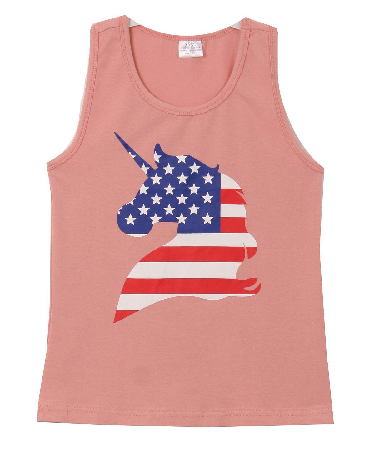 Big Girls' Unicorn Flag Pattern Summer Cotton Raglan Tank Top T-Shirt Tee Blush 7 XXL (P318126P)