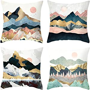 Heyhousenny Cartoon Landscape Pink Decorative Watercolour Throw Pillow Covers Tree Cushion Covers Square Outdoor Pillowcase for Sofa Set of 4 (Mountains,Sun)