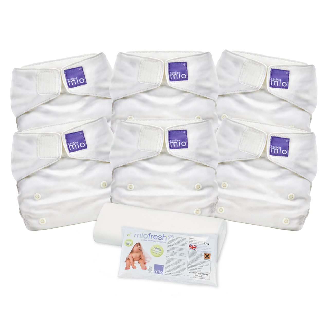 Bambino Mio, Miosolo Cloth Diaper Set, Onesize, White