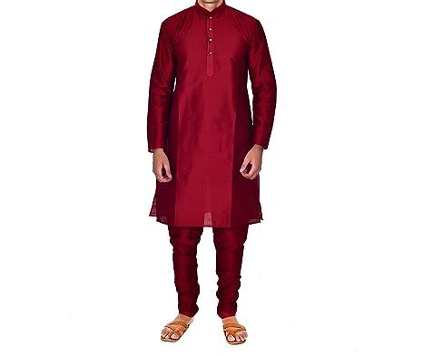 ellegent exports menspure silk kurta churidar maroon