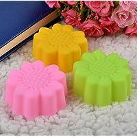 Leisial 10pcs de Silicona del Molde de la Torta Molde de Gelatina Moldes de Jabón Color al Azar-Forma de Girasol