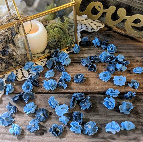 (Wedding Sweetheart Table Decor, Rustic Bridal Shower Decorations, Table Setting Ideas for Party, Artificial Baby's Breath, Dusty Blue Flower Confetti)