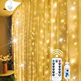 Curtain Lights, 300 LED Curtain Fairy String Lights with Remote - JNTLSSB 8 Modes 9.8 Ft × 9.8 Ft Waterproof USB Plug in Copp