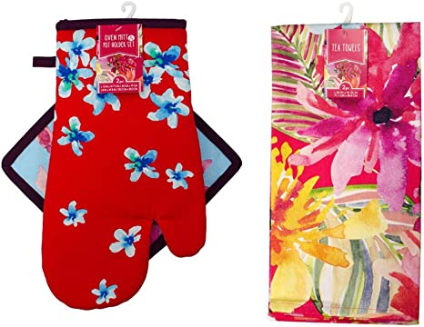 Amazon Com Dependable Home Collections Tropical Floral Print Kitchen Gift Set Oven Mitt Pot Holder 2 Tea Towels Ideal Cooking Gift Gift Ideas For Chefs Home Kitchen