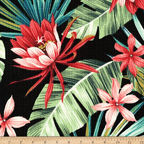 Robert Kaufman Kaufman Sevenberry Island Pardise Barkcloth Black Fabric By The Yard - Barkcloth Fabric