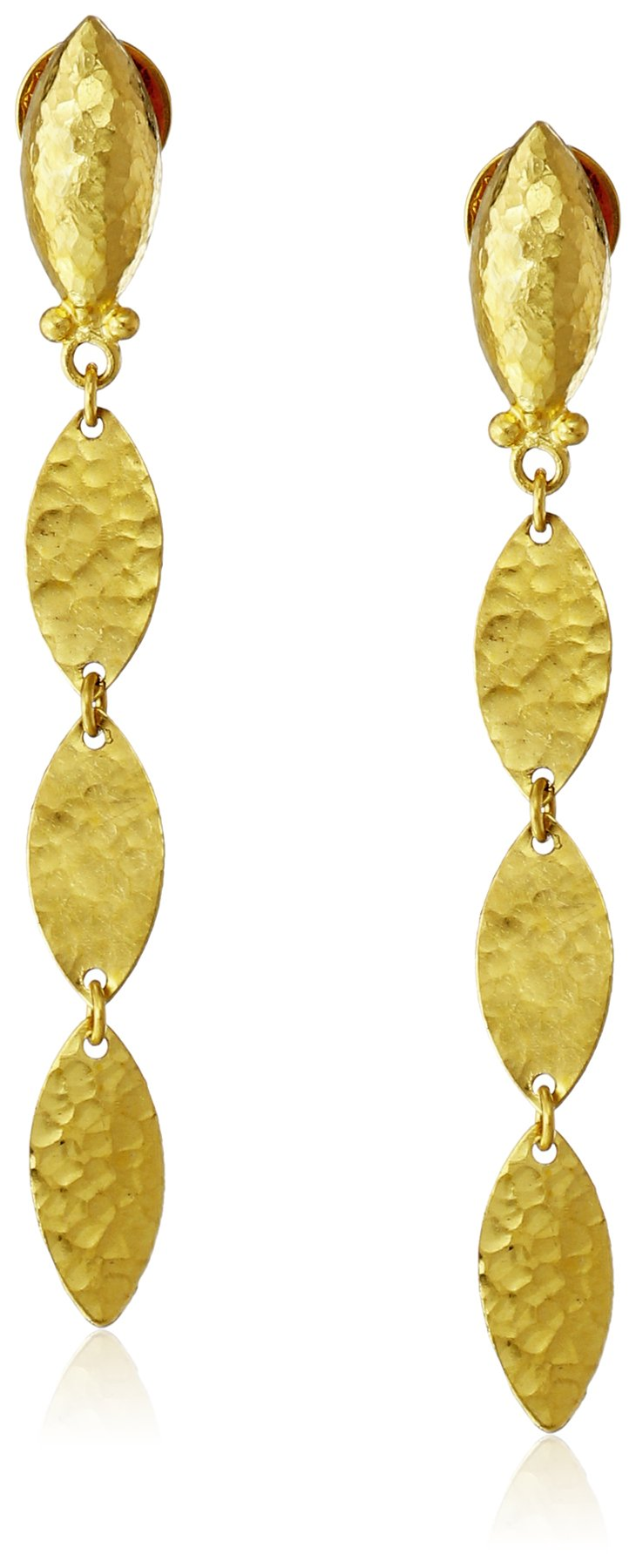 GURHAN ''Willow'' High-Karat Gold Triple Leaf Drop Earrings, 1.88''