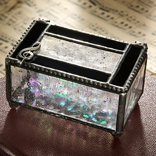 Teacher Keepsake Box - J Devlin Glass Box 350-2 Recital Gift for Musician Stained Glass Box Musical Cleft Jewelry Trinket Box Music Teacher