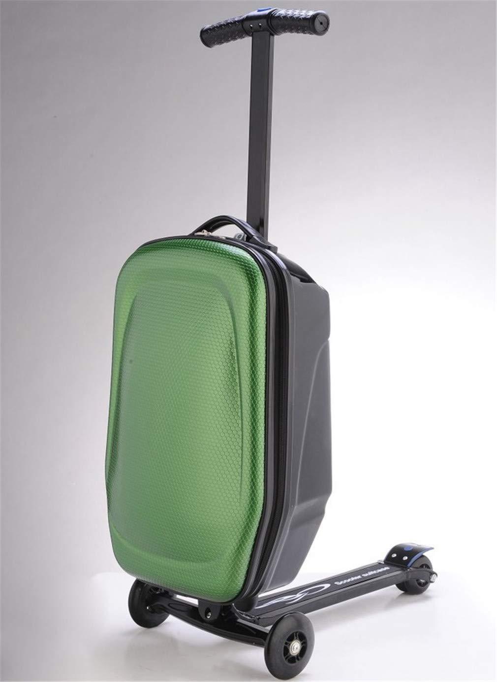 スクーター荷物、12年間のために適したスーツケースが付いているマイクロ荷物の折り畳み式の3つの車輪のスクーター+  Green B07RTXK3Y8