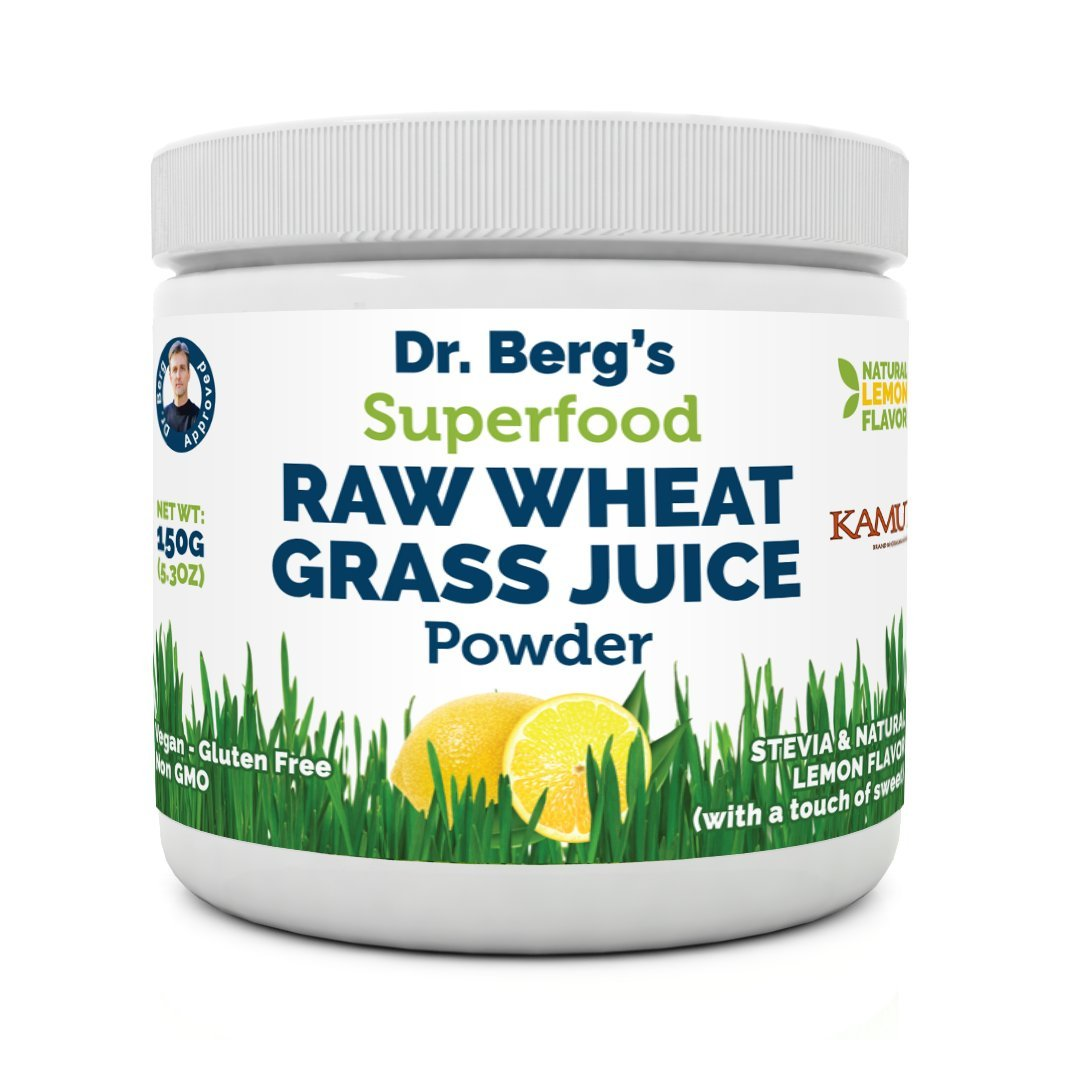 Natural Lemon Flavored Wheat Grass Powder with KamutTM -Raw & Ultra-Concentrated Nutrients -Rich in Vitamins, Chlorophyll, Trace Minerals & Amino Acids 60 Servings- Gluten-Free Non-GMO -5.3 oz