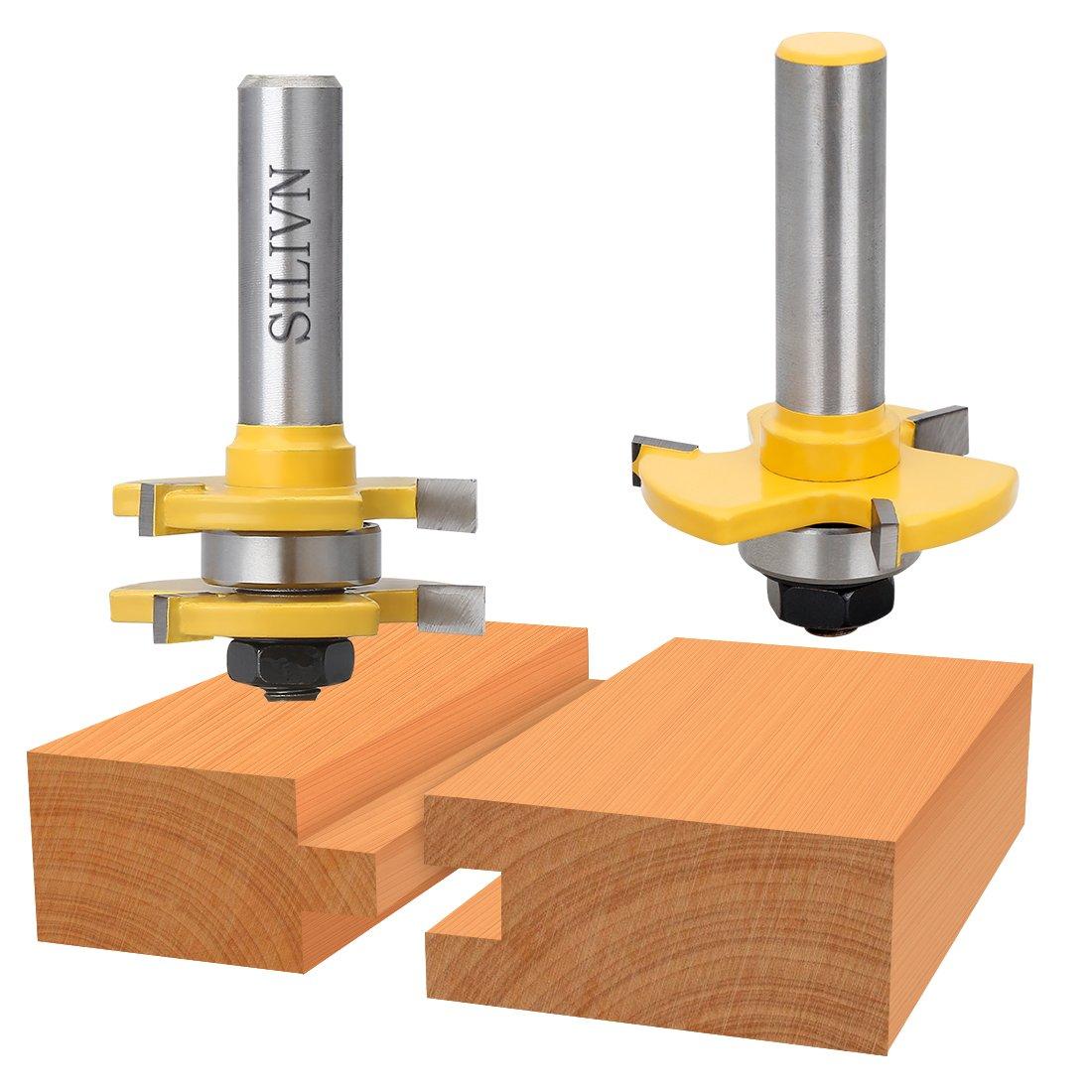 SILIVN Tongue and Groove Set, Router Bit Set, Wood Door Flooring 3 Teeth Adjustable, 1/2 Inch Shank T Shape Wood Milling Cutter Woodworking Tool, 2 Piece by SILIVN (Image #4)