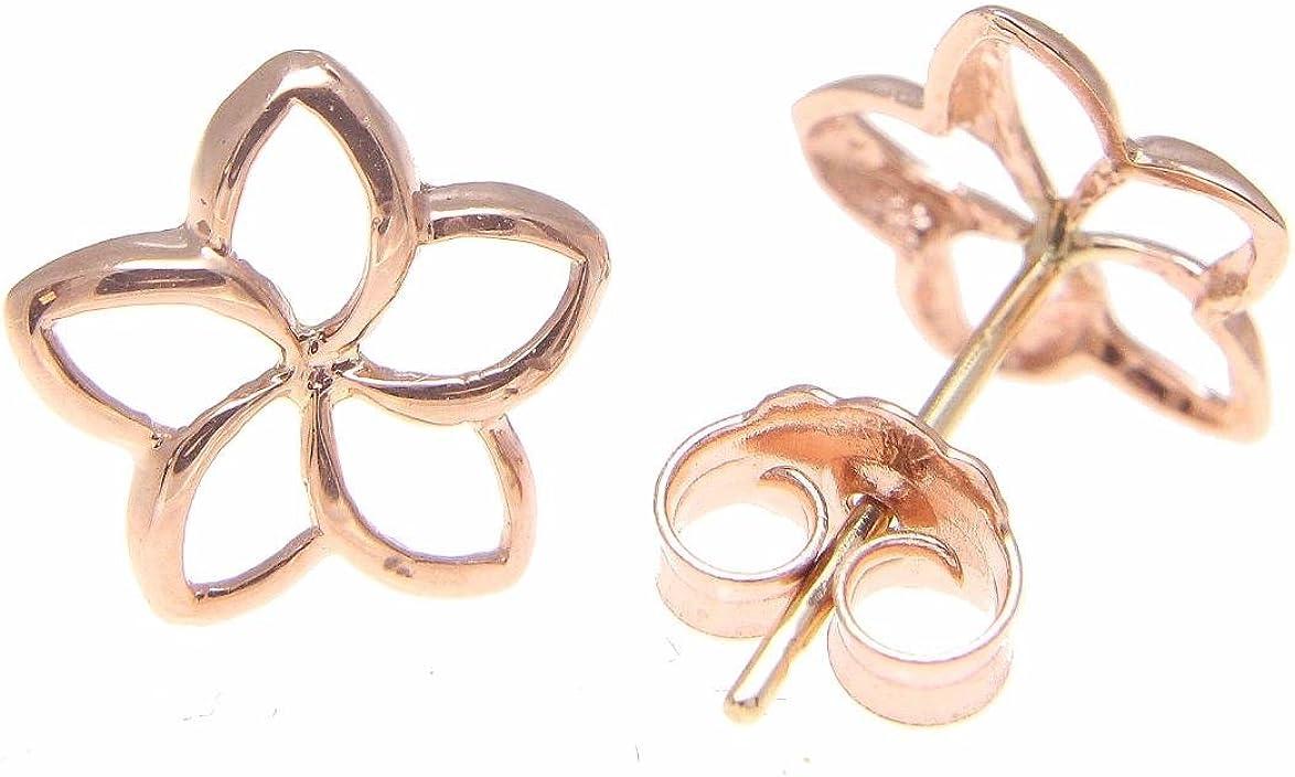 14K pink rose gold Hawaiian polish shiny 7.5mm open plumeria flower earrings Arthur/'s Jewelry
