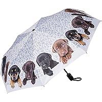 Paraguas Bolsillo Plegable Ligero Estable Apertura y Cierre Automático Resistente al Viento Compacto Perro Cuarteto de…