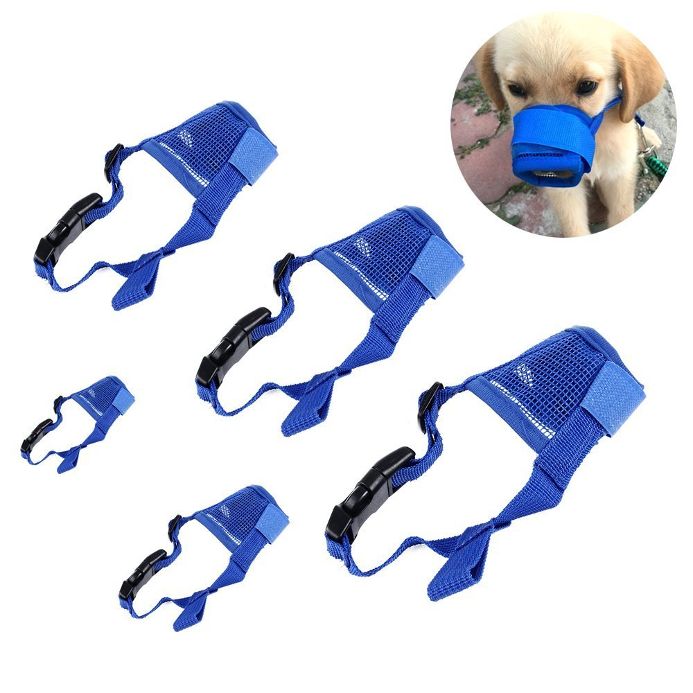 5 Pcs Pet Dog Mouth Covers, Adjustable Mask Mesh Breathable Puppy Dog Mouth Cover Anti-biting Barking Muzzles for Small Medium Large Extra Dog (blue)