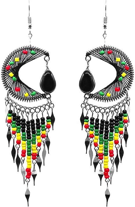 women/'s jewel Ethnic earrings dangling in colorful beads