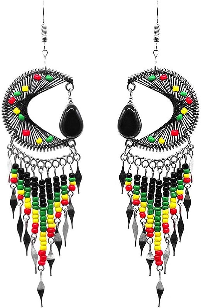 Crescent beaded earring beaded earrings half moon earrings