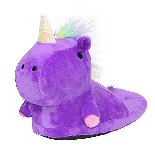 Zapatillas de Felpa Unicornio de Casa Zapatos Peluche Suave Calentar Invierno Pantuflas para Adulto Niños