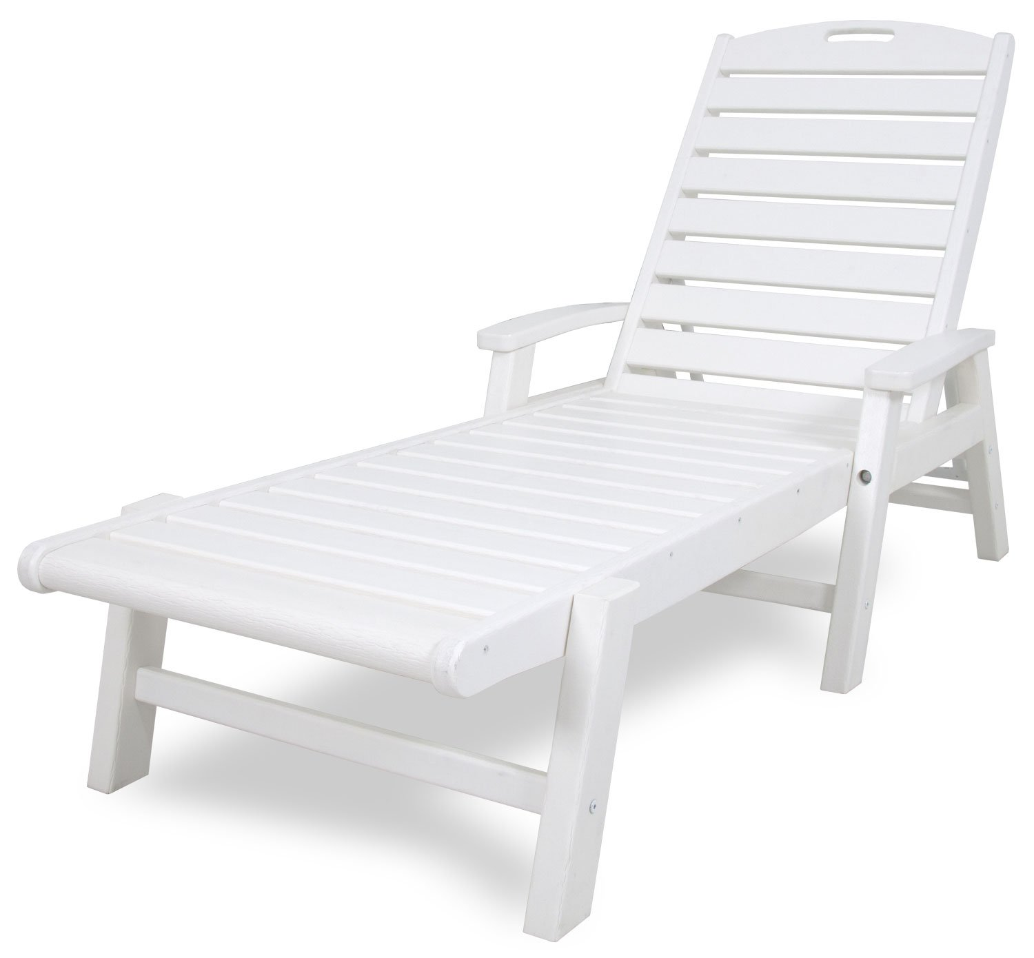 Trex Outdoor Furniture Yacht Club Stackable Chaise Lounger with Arms, Classic White